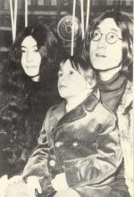 Yoko Ono, Julian (5), and John Lennon at the rehearsal of a Rolling Stones TV Special