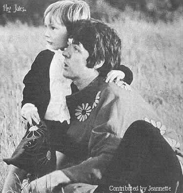 Julian Lennon and Paul McCartney from the filming of the Magical Mystery Tour